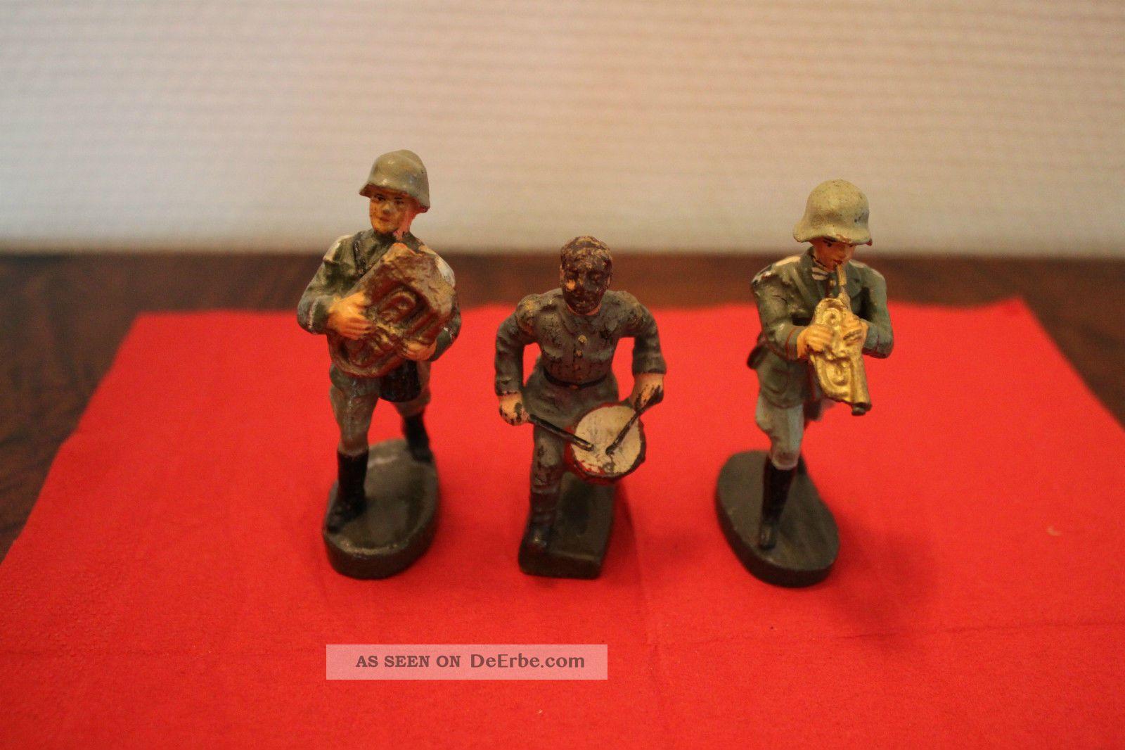 3 X Soldat Musiker Trompete,  Trommel,  Tenorhorn,  Lineol,  Elastolin Gefertigt vor 1945 Bild