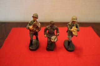 3 X Soldat Musiker Trompete,  Trommel,  Tenorhorn,  Lineol,  Elastolin Bild