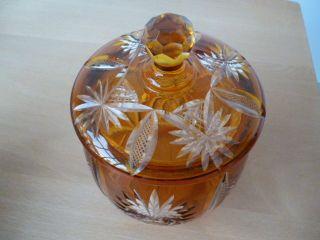 Bonbonniere Mit Deckel Topasglas Geschliffen Ludwig Moser Karlsbad Art Deco Glas Bild