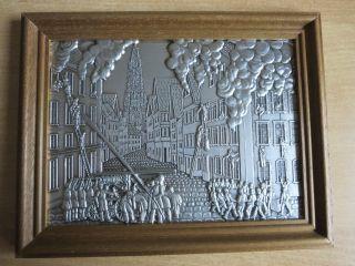 Zinnbild Mit Massivem Holzrahmen (23,  5 Cm X 18,  5 Cm),  Motiv: Feuerwehr,  S.  Gut Bild