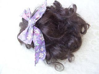 Alte Puppenteile Dunkelbraunelocken Haar Perücke Vintage Doll Hair Wig 30cm Girl Bild