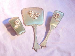3 Tlg Toilettenset Haarbürste Kleiderbürste Handspiegel Spiegel Bürste Bild