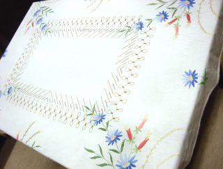 Alte Tischdecke Stickerei Handarbeit 120x147cm Leinen Weiß Blumen Bild