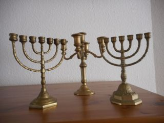 3 Messing Kerzenleuchter,  2x Menora,  1 X 5 - Armig Bild