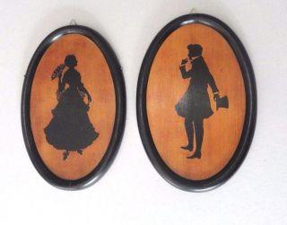 2x Intarsien Bild Oval Rahmen Clemens Schwan Paar Mann Zylinder Frau Bild
