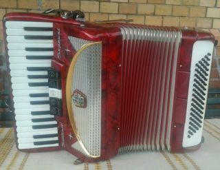Akkordeon Settimio Soprani Italien 5 Register Vorn 2 Bass Hinten 80 Bass Tremolo Bild