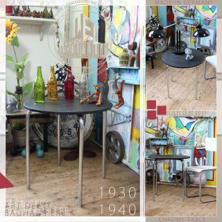 Chrome Bauhaus Ère Coffee Table Vintage Art Deco Tisch Mid Century Modern 40ties Bild