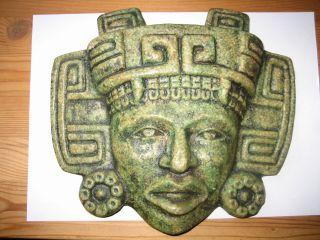 Wandbild Wand - Relief Maya - Azteken Gottheit Steinguss Jade - Optik ErbstÜck 60er J. Bild