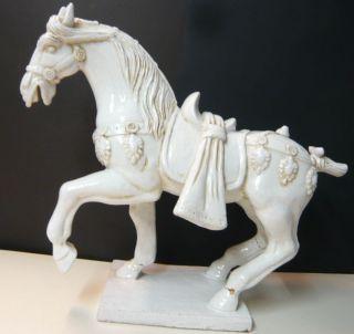 Grosse Alte Pferde Skulptur,  August Der Starke Pferd,  Fayance Weiß Glasiert Bild