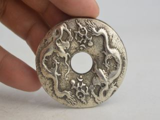 Alte Chinesische Tibet Silver,  Coin Skulpturen 2x Dragon 龍 Bild
