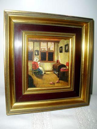 Bild,  Rahmen Holz Mit Gold,  Maler: De Hooch,  Lesende Frau,  Shabby,  Holzrahmen Bild