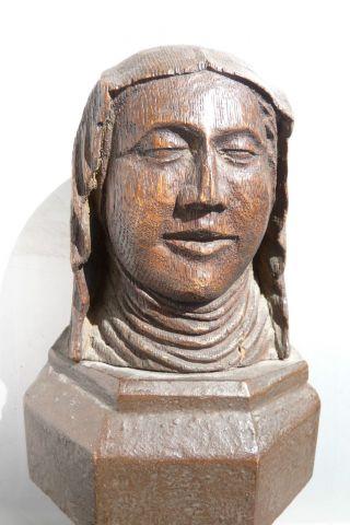 Antiker Kopf Aus Holz - Entstehung Um 1450? Bild