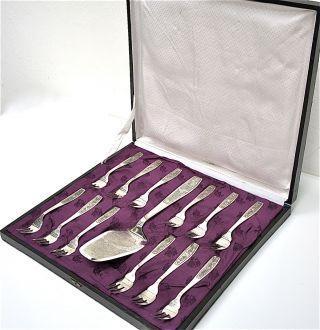 12 Kuchengabeln,  1 Tortenheber,  900 Silber In Aufbewahrungs - Schatulle.  Antik. Bild