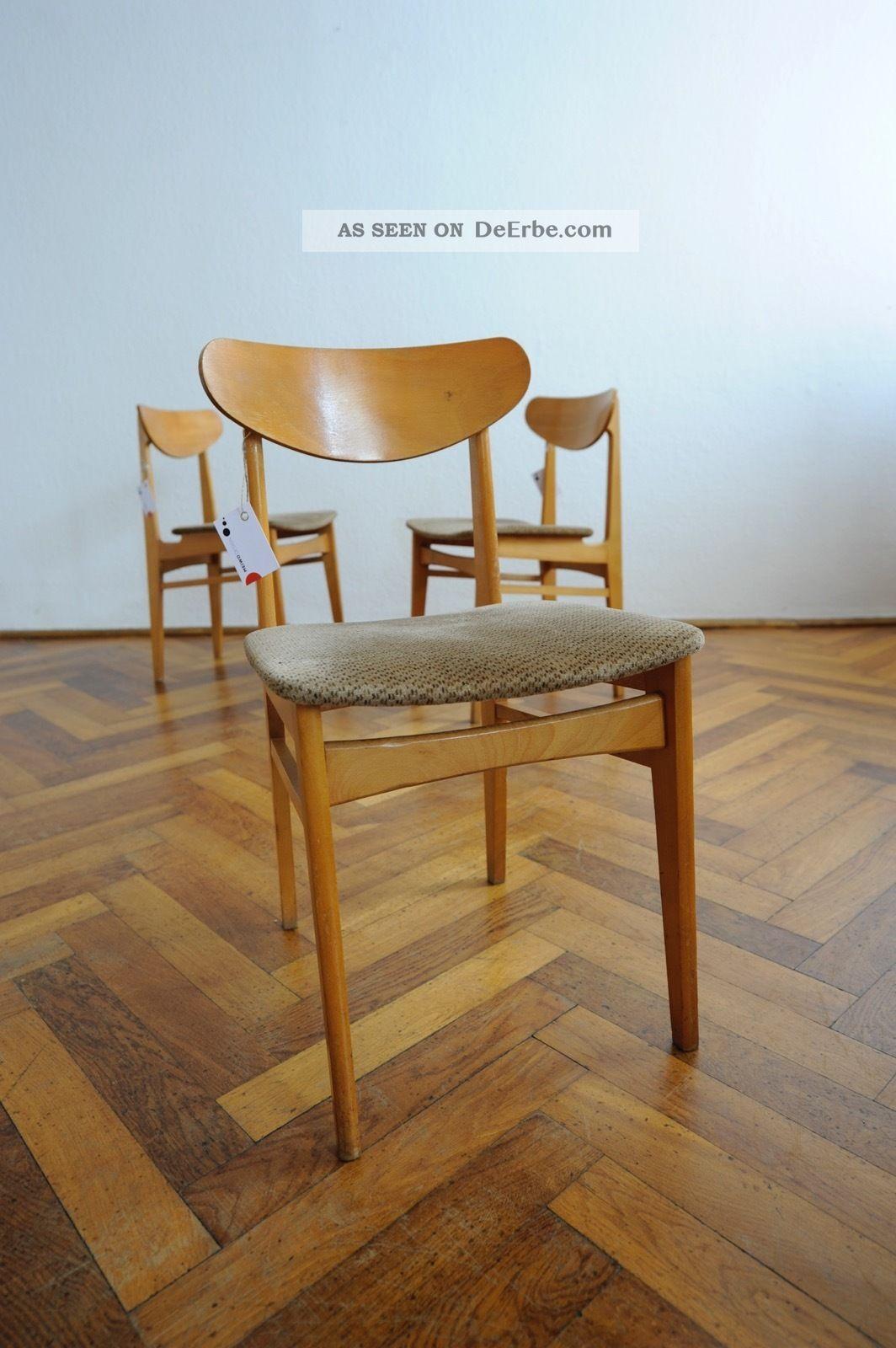 60er 70er 3x Holz Stuhl Mid Century Danish Design