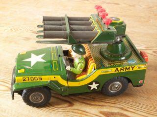 Us Army Jeep Mit Raketenwerfer Japan Blechspielzeug 60er Jahre Bild