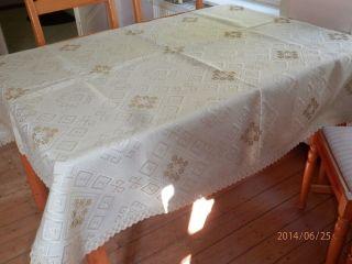 T22) Große Dickere Gewebte Tischdecke Kreuzstich Stickerei Spitzenborte 150x146 Bild