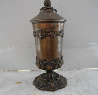 Biedermeier Deckel Pokal 1852 Österreich - Ungarn Echt Silber 800 211 Gramm. Bild