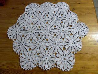 Häkel - Decke,  Weiß,  Rund/vieleckig 52 Cm,  Handarbeit Bild