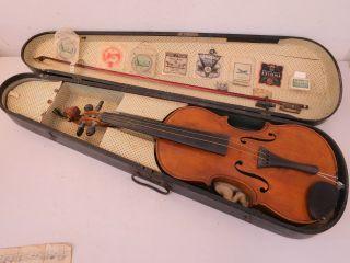 K) Alte Geige Violine Fidel Mit Holzkoffer Kasten Holzgeigenkasten Zubehör Musik Bild