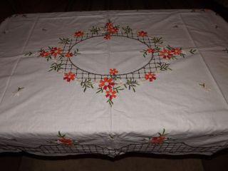 Sehr Schöne Antike Tischdecke Bestickt Handarbeit - Nachlass Bild
