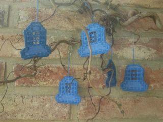 Handgearbeitete Hardanger Glocken 5 Stück Blau Bild