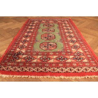 Alter Handgeknüpfter Orient Teppich Buchara Jomut Carpet Tappeto Tapis 125x80cm Bild