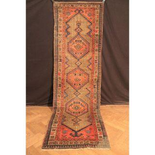 Antiker Handgeknüpfter Orient Teppich Sarab Heriz Läufer Old Rug Carpet 315x100 Bild