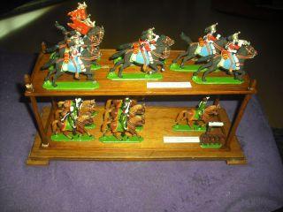 Schaukasten Mit 7 Englische Dragoner & 7 Preußische Husaren Bild
