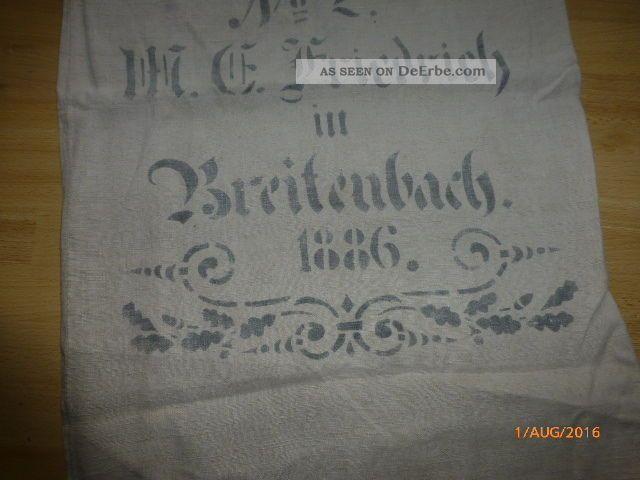 Antiker Leinen Sack / Getreidesack,  Mit Beschriftung,  1886,  Gepflegter Bauer Bild