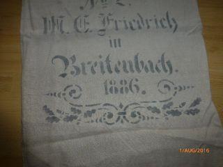 Antiker Leinen Sack / Getreidesack,  Mit Beschriftung,  1886,  Gepflegter Bild