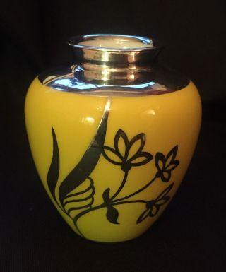 Silber Overlay Vase Hutschenreuther 1000er Silber Spahr Manufaktur Art Deco Bild
