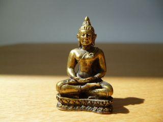 Buddha Miniatur Messing Indien Um 1970 1 Bild