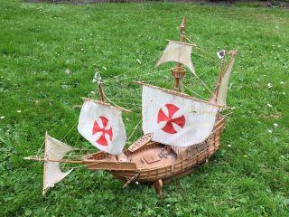 Großes Historisches Schiffsmodell Segelschiff Santa Maria Mantua Segelboot Bild