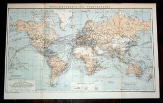 Orig.  Lithographische Tafel 53,  5 X 34 Cm 1905 Dampfschifflinien Im Weltverkehr Bild