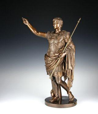 Große Bronze Skulptur Kaiser Augustus Gießerei Nelli Rom Um 1880 Fonderia Roma Bild