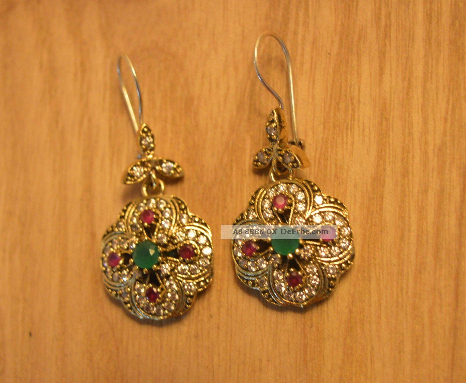 Antik Ohrstecker Ohrringe Silber Handarbeit 925 Mit Gold Earrings Orecchin Schmuck nach Epochen Bild