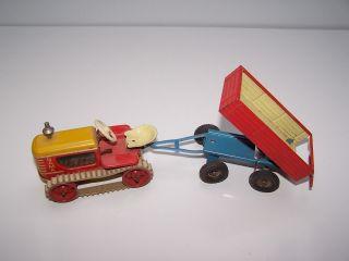 Gama Raupenschlepper Raupe Mit Anhänger Blech Spielzeug Traktor Bild