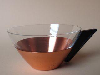 6 Stylishe Teegläser 411/1719 - Halterung Kupfer - Retro Vintage Wohl 50er Jahre Bild