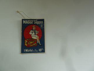 Maggi Suppen Orig.  Werbung Auf Pappe Vor 1920 F.  Alten Kaufladen 5,  2 X 3,  6 Cm Bild
