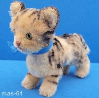 Steiff Katze Tabby 14 Cm Mohair Stofftier Cat Grau - Weiss Gestromelt Bild