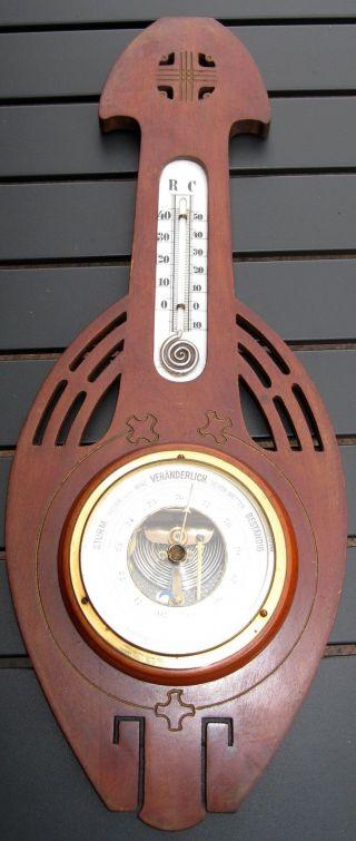 Altes Großes Jugendstil Barometer/thermometer Mahagonigehäuse Um 1905/10 Bild