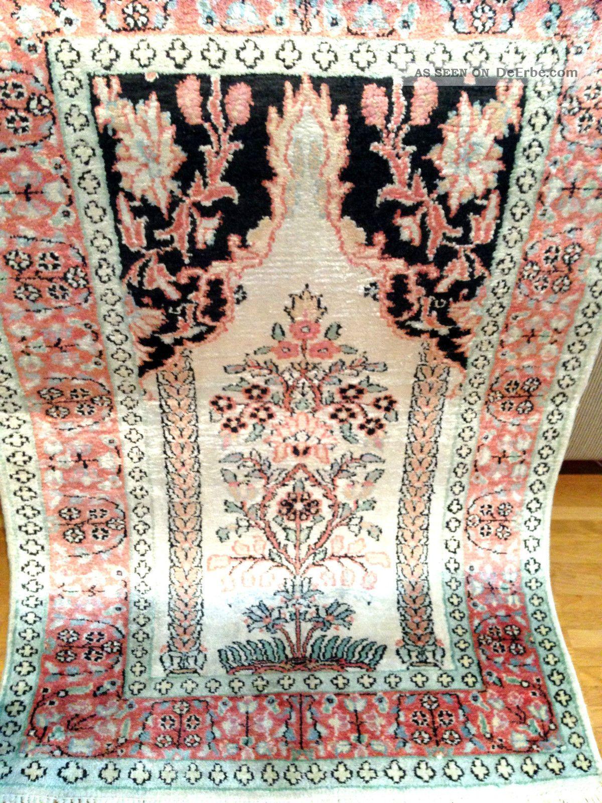 Handgeknüpft Orientteppich Teppich Seide 96×62 Cm Carpet