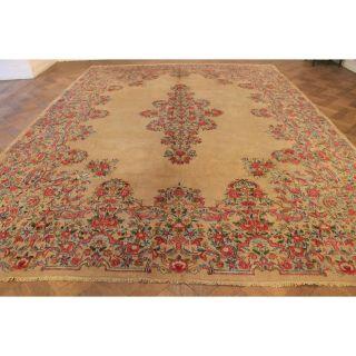 Alter Handgeknüpfter Palast Blumen Orient Teppich Nain Laver Old Rug 400x300cm Bild