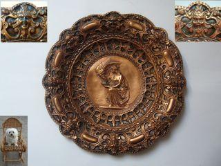 Wandteller Kupfer Teller Jugendstil Ø 27,  5 Cm Reliefteller Dämon Fratze Bild
