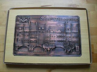 Kupferbild Ddr Erfurt Krämerbrücke Relief 37 Cm X 25 Cm Neuwertig Ovp Bild