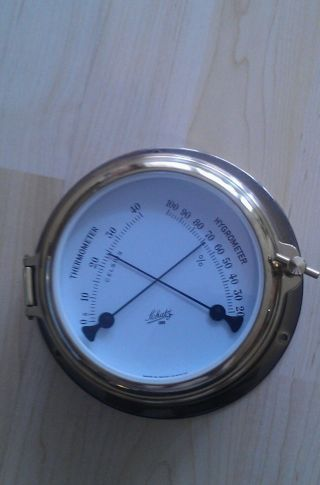 Thermometer/ Hygrometer Von Schatz Aus Messing.  Top Bild