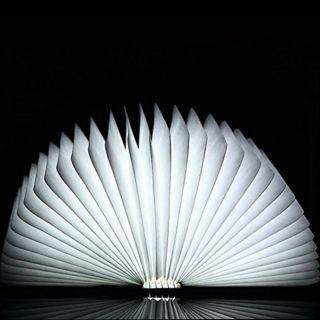 Klapp Buch Led Lampe Laterne Licht Tischlampe Beleuchtung Aus Holz Mit Usb - Kabel Bild