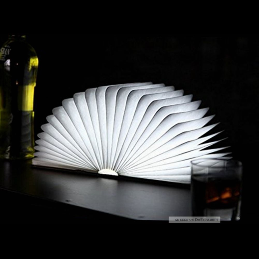 klapp buch led lampe laterne licht tischlampe beleuchtung aus holz mit usb kabel. Black Bedroom Furniture Sets. Home Design Ideas