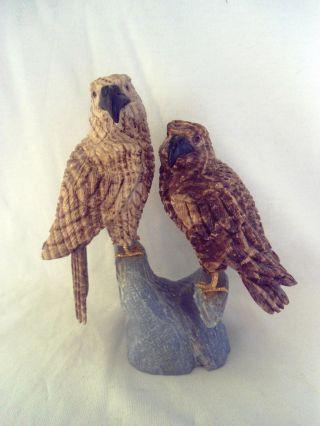 Vogel Figur Adler Pärchen Stein Beschnitzt Sammlerstück Steinskulptur Dekoration Bild