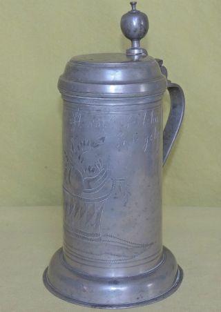 Antiker Zinnkrug Mit Gravur 1838 - Unsere Freundschaft Soll Bestehn Bild
